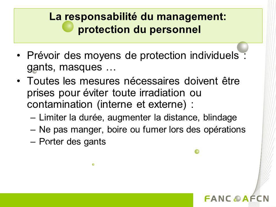 La responsabilité du management: protection du personnel