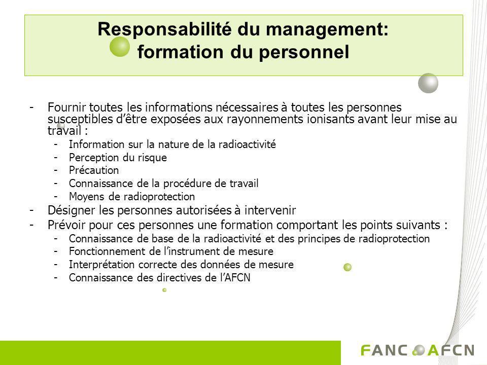 Responsabilité du management: formation du personnel
