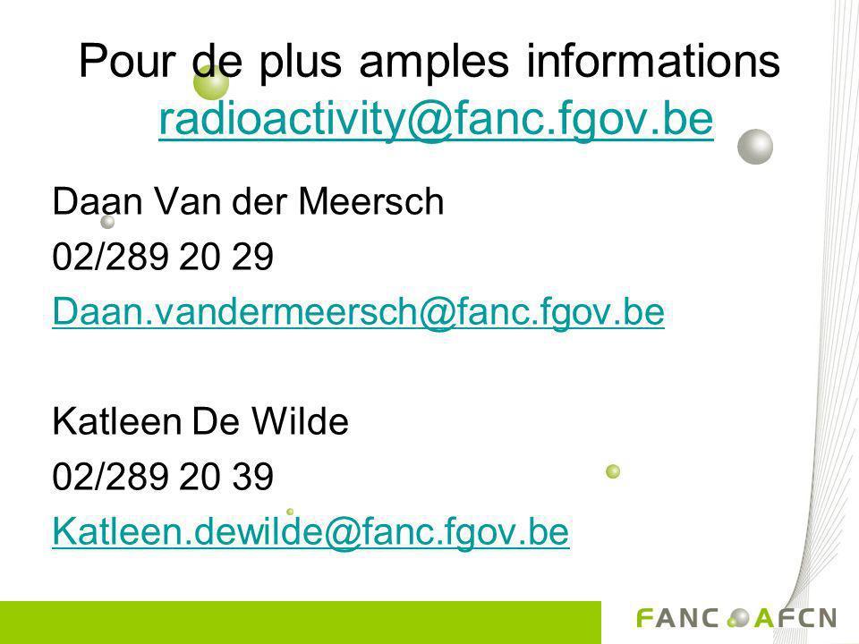 Pour de plus amples informations radioactivity@fanc.fgov.be