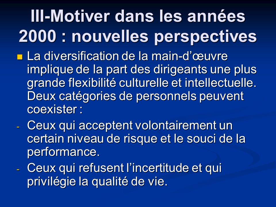 III-Motiver dans les années 2000 : nouvelles perspectives
