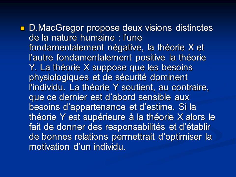 D.MacGregor propose deux visions distinctes de la nature humaine : l'une fondamentalement négative, la théorie X et l'autre fondamentalement positive la théorie Y.