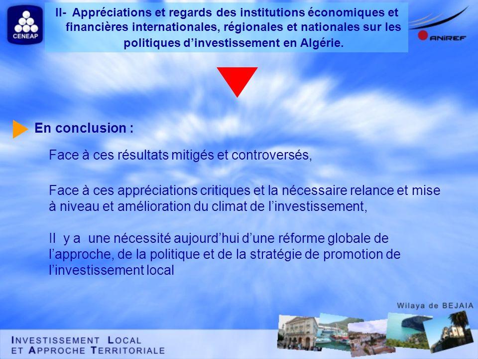 II- Appréciations et regards des institutions économiques et financières internationales, régionales et nationales sur les politiques d'investissement en Algérie.