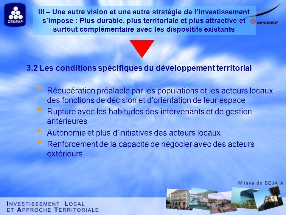 3.2 Les conditions spécifiques du développement territorial