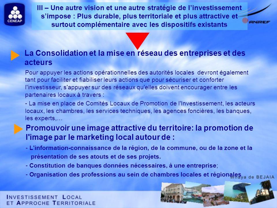 La Consolidation et la mise en réseau des entreprises et des acteurs