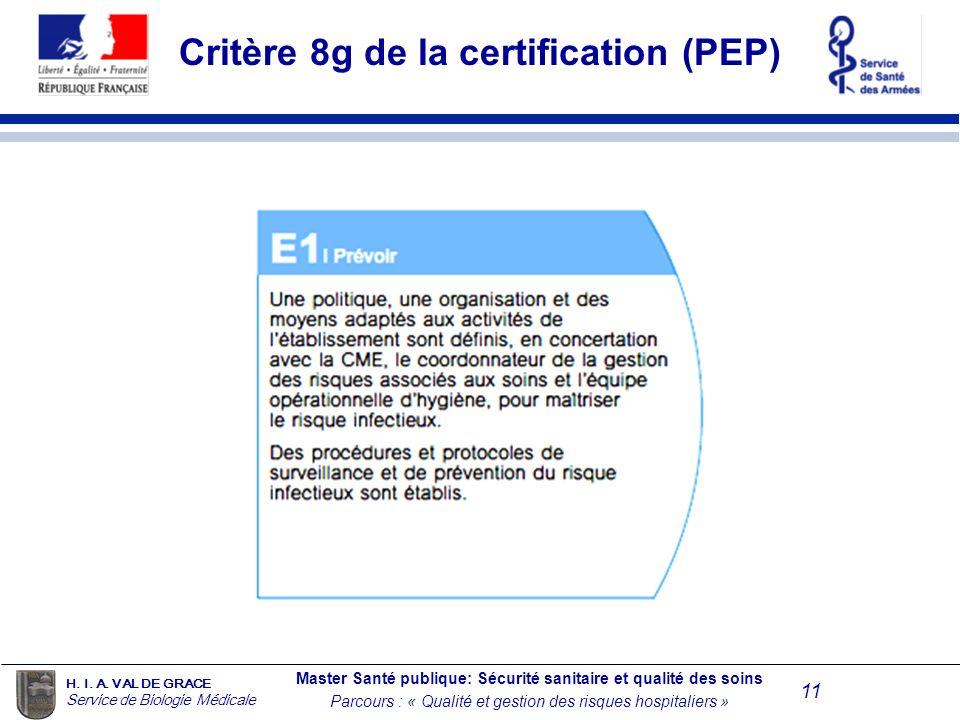 Critère 8g de la certification (PEP)