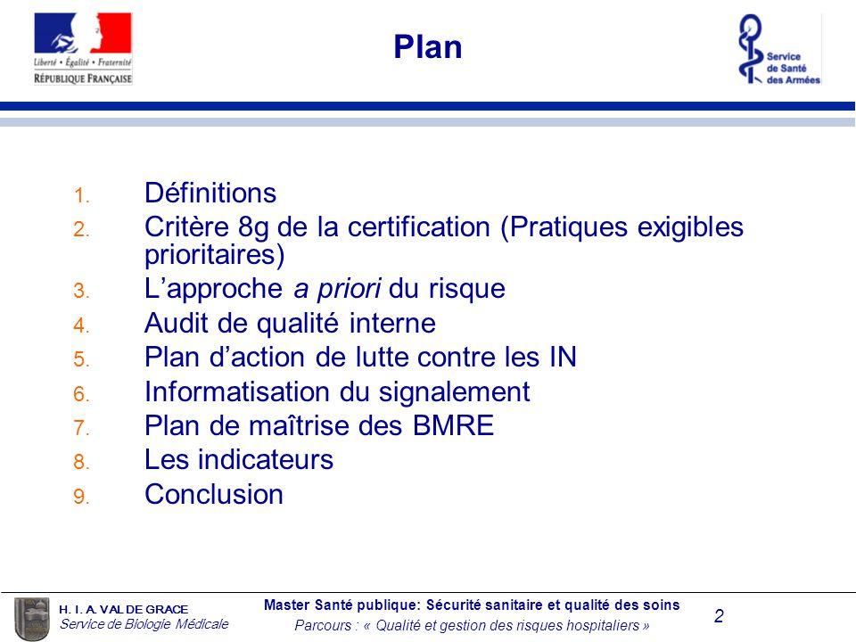 Plan Définitions. Critère 8g de la certification (Pratiques exigibles prioritaires) L'approche a priori du risque.