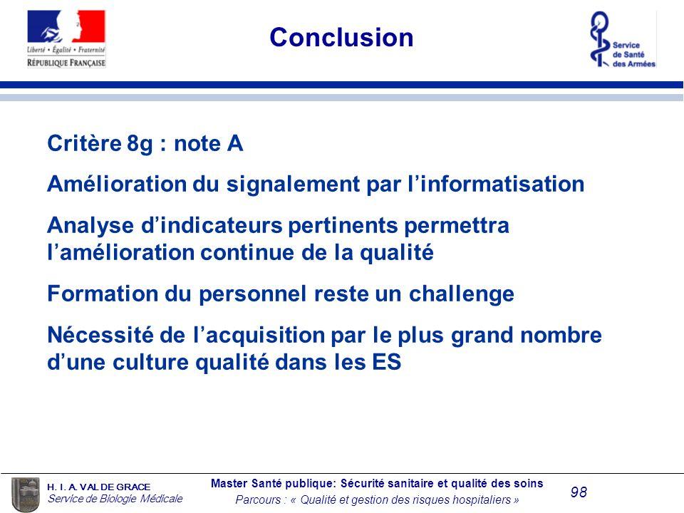 Conclusion Critère 8g : note A
