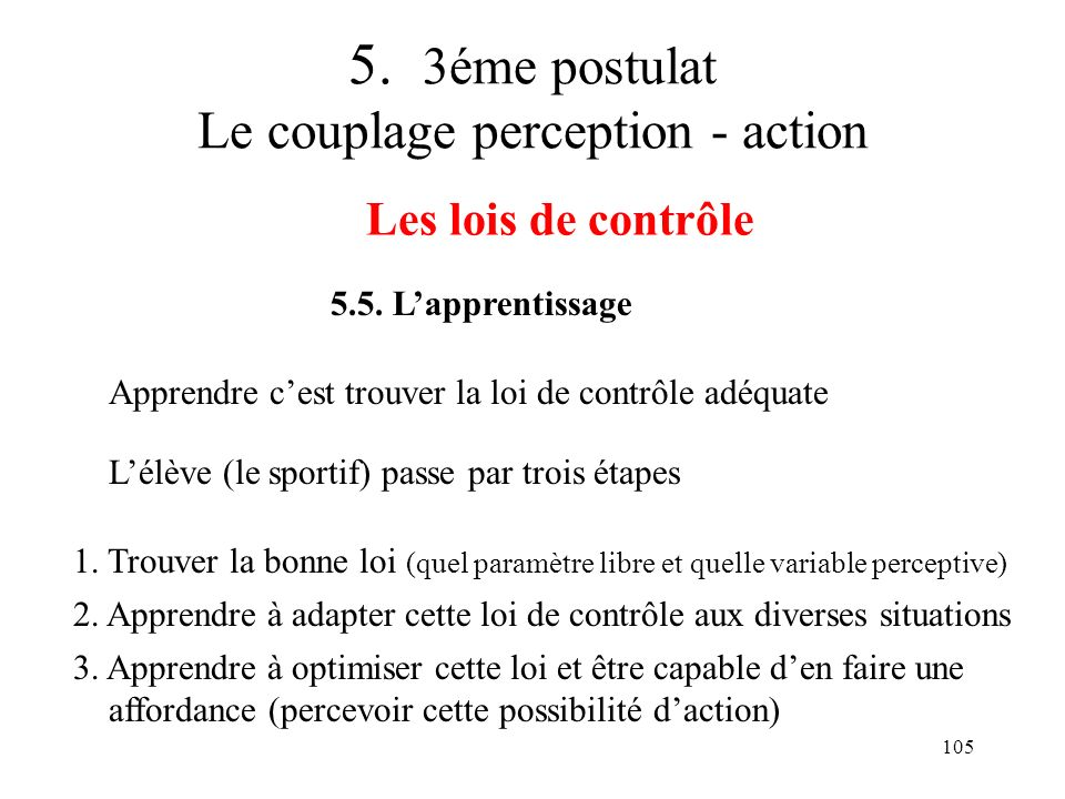 5. 3éme postulat Le couplage perception - action