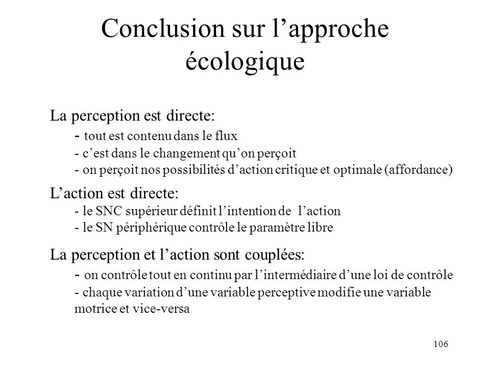Conclusion sur l'approche écologique