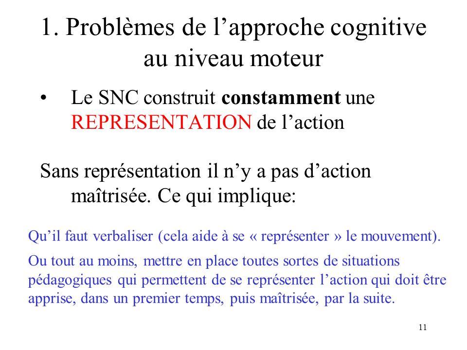 1. Problèmes de l'approche cognitive au niveau moteur