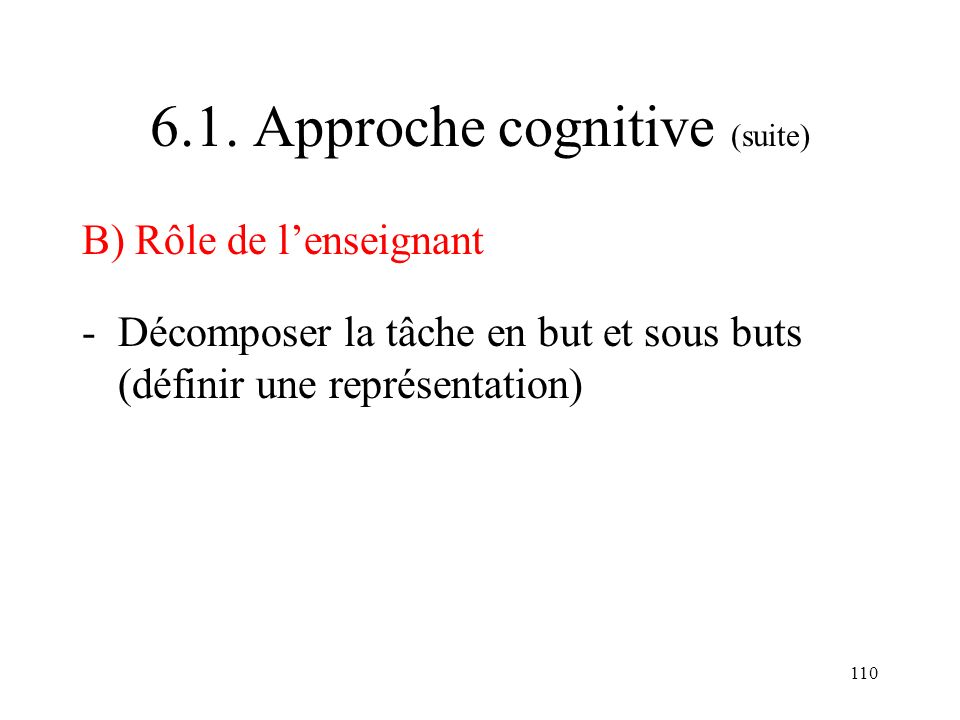 6.1. Approche cognitive (suite)