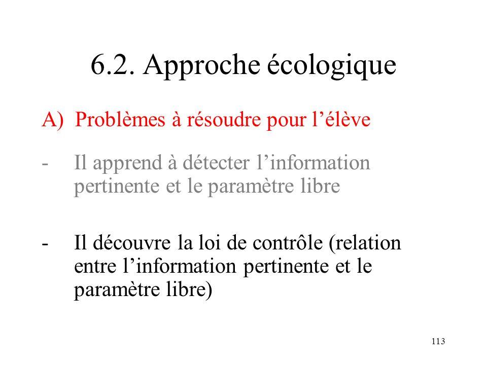 6.2. Approche écologique A) Problèmes à résoudre pour l'élève