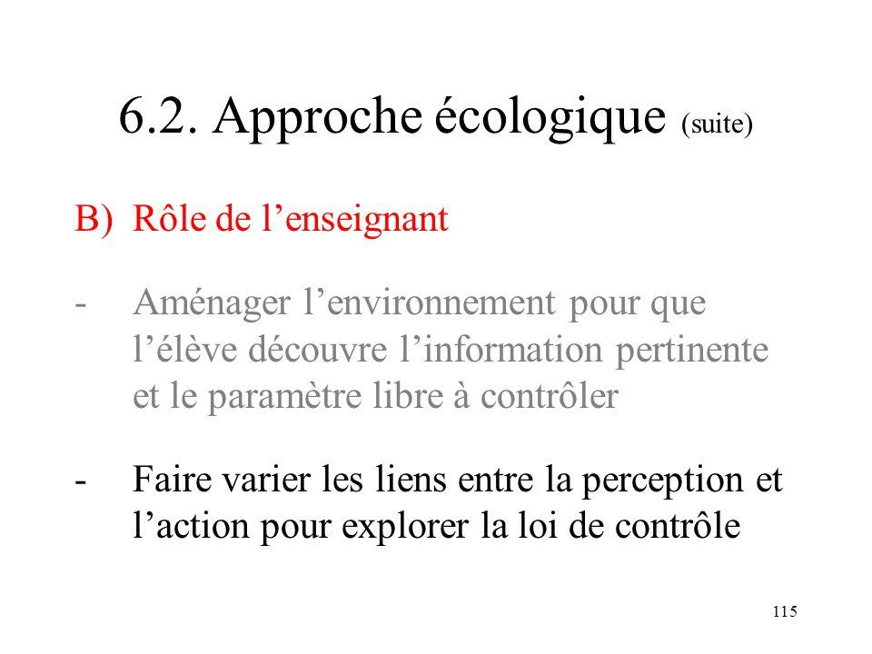 6.2. Approche écologique (suite)