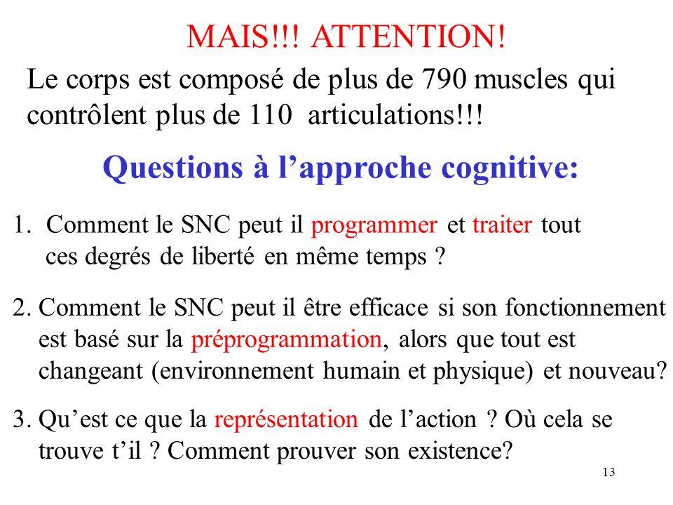Questions à l'approche cognitive: