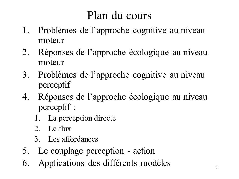 Plan du cours Problèmes de l'approche cognitive au niveau moteur