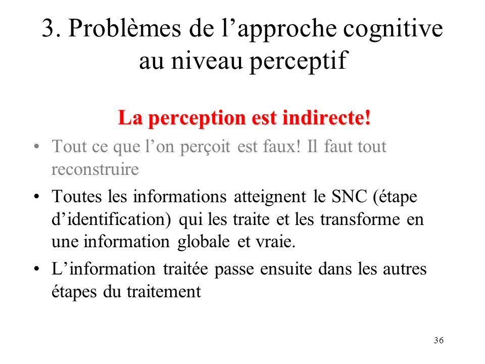 3. Problèmes de l'approche cognitive au niveau perceptif