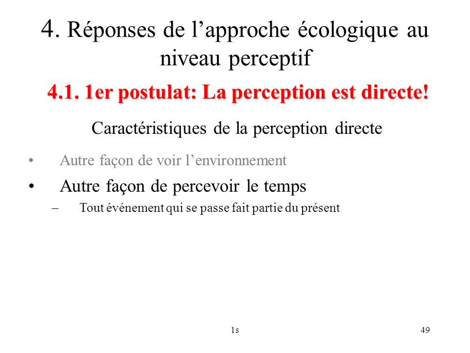 4. Réponses de l'approche écologique au niveau perceptif