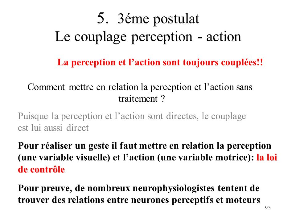 5. 3éme postulat Le couplage perception - action