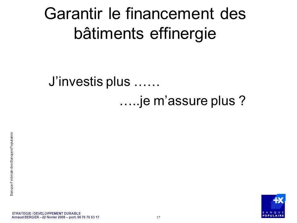 Garantir le financement des bâtiments effinergie