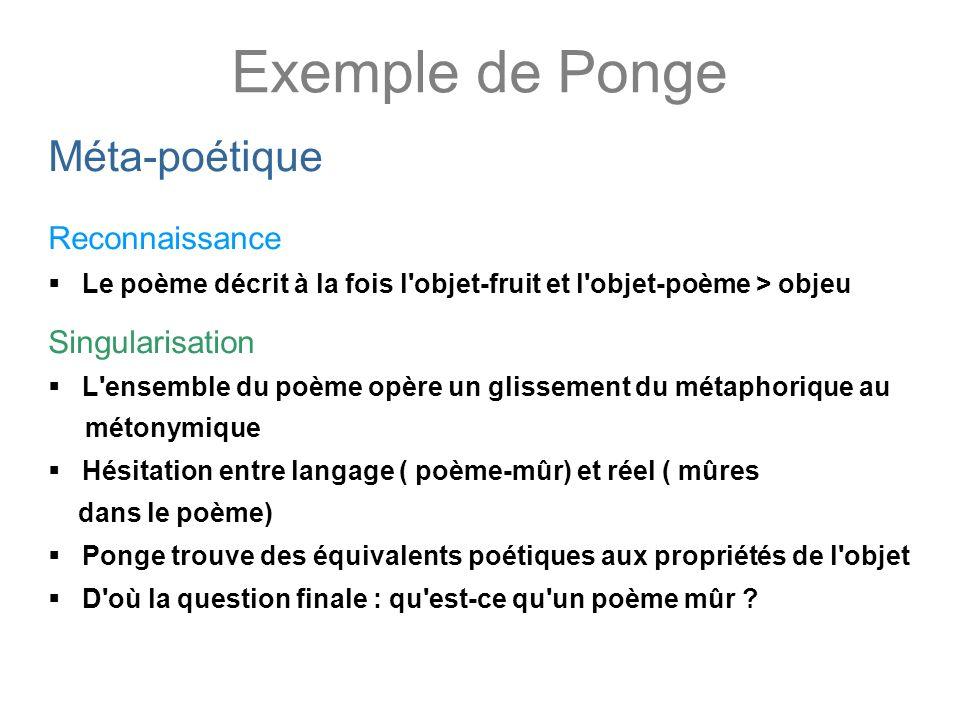 Exemple de Ponge Méta-poétique Reconnaissance Singularisation