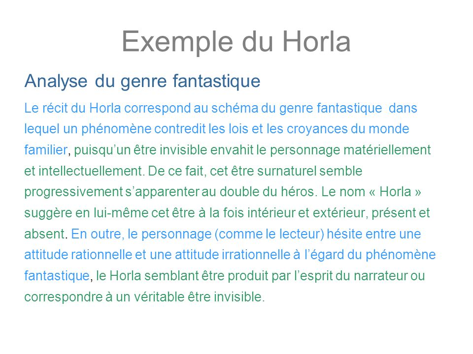 Exemple du Horla Analyse du genre fantastique
