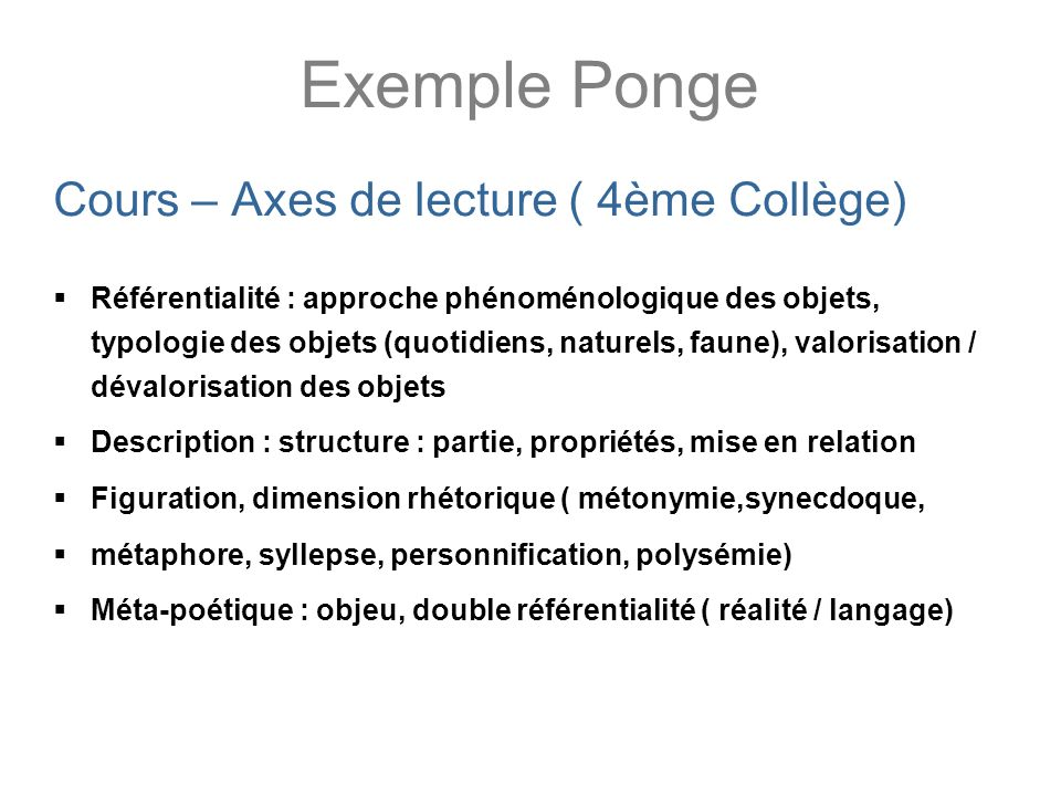 Exemple Ponge Cours – Axes de lecture ( 4ème Collège)