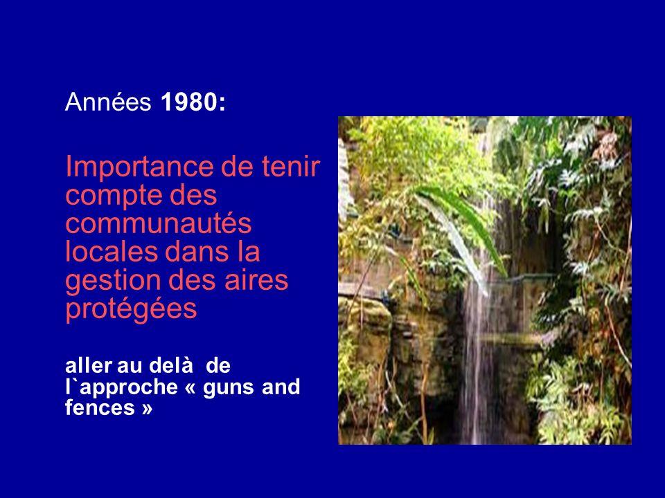 Années 1980: Importance de tenir compte des communautés locales dans la gestion des aires protégées.