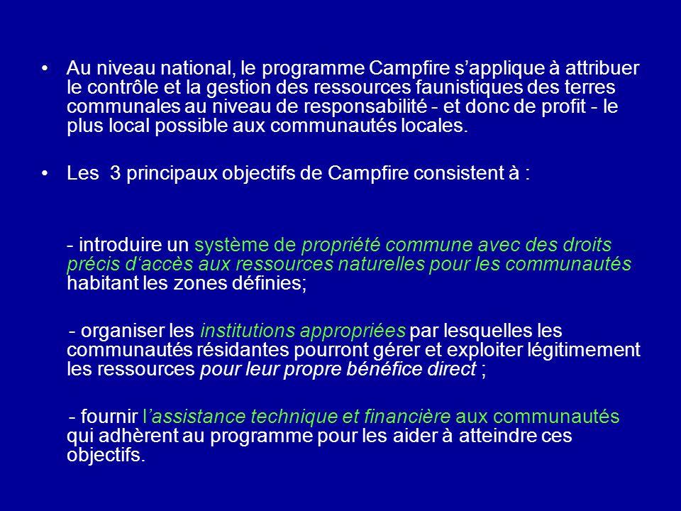 Au niveau national, le programme Campfire s'applique à attribuer le contrôle et la gestion des ressources faunistiques des terres communales au niveau de responsabilité - et donc de profit - le plus local possible aux communautés locales.