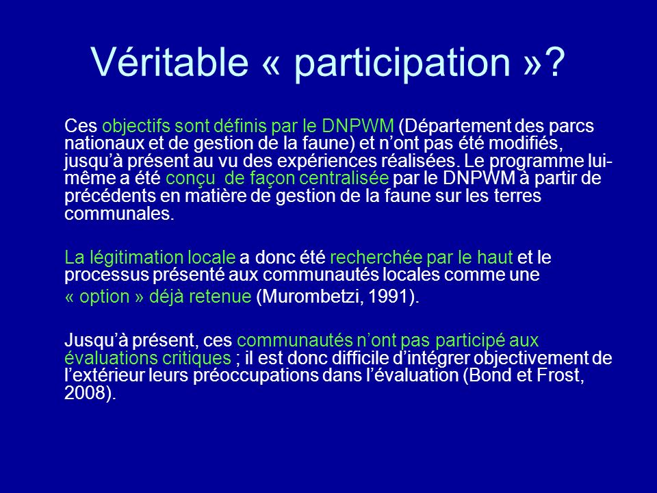Véritable « participation »