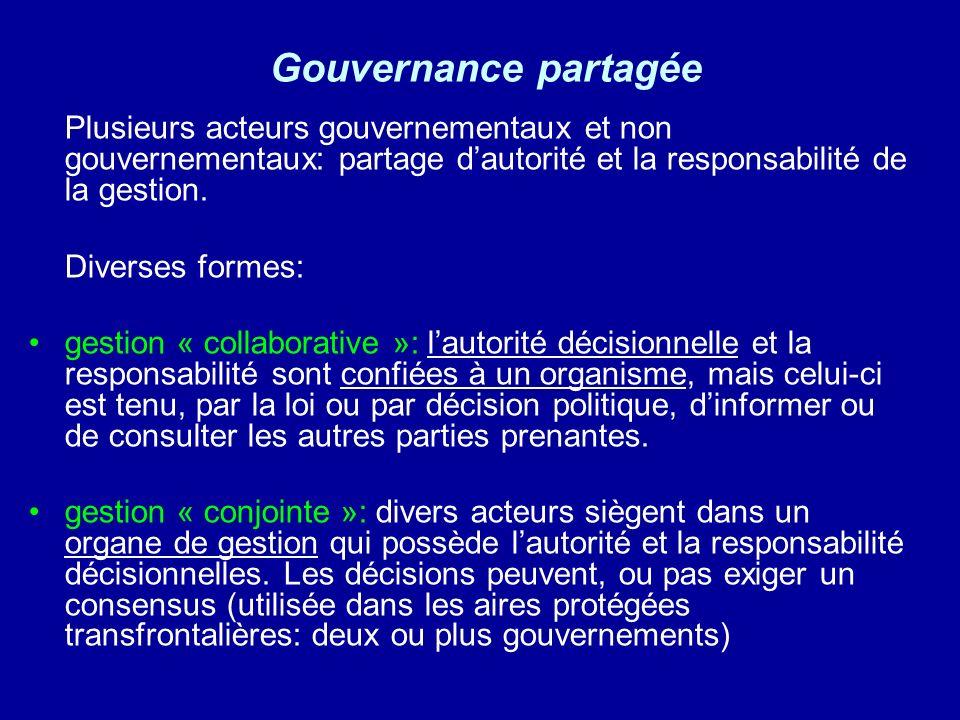 Gouvernance partagée Diverses formes: