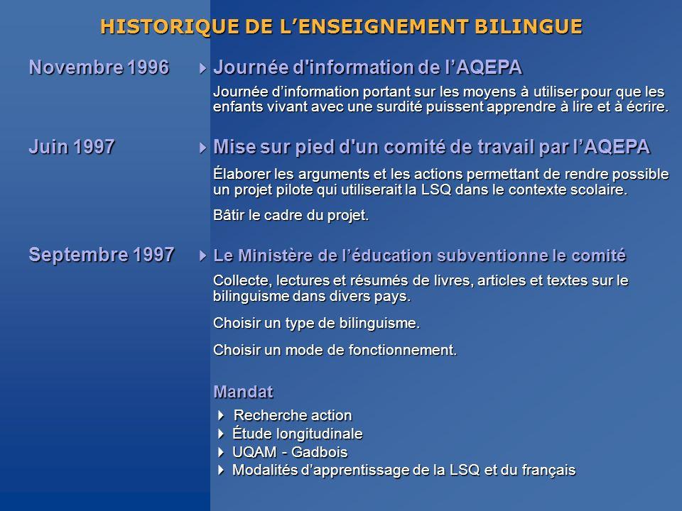 HISTORIQUE DE L'ENSEIGNEMENT BILINGUE