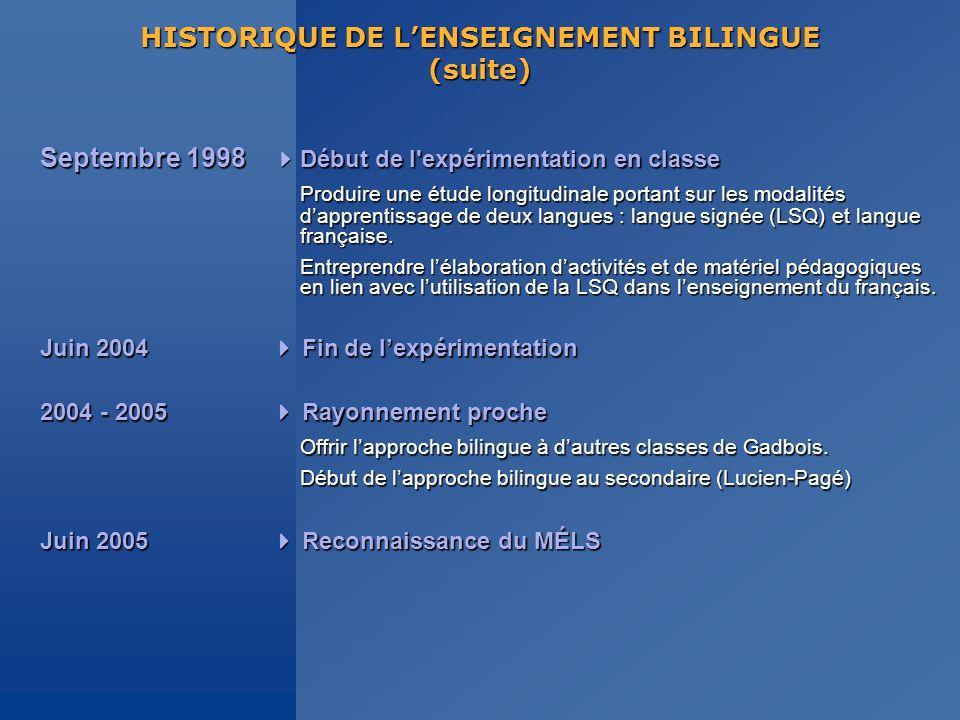 HISTORIQUE DE L'ENSEIGNEMENT BILINGUE (suite)
