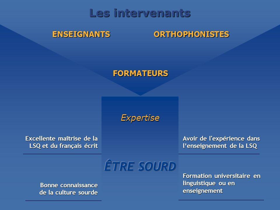 ÊTRE SOURD Les intervenants Expertise ENSEIGNANTS ORTHOPHONISTES