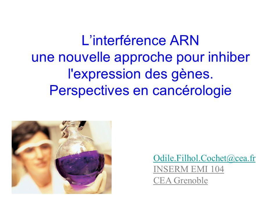 L'interférence ARN une nouvelle approche pour inhiber l expression des gènes. Perspectives en cancérologie