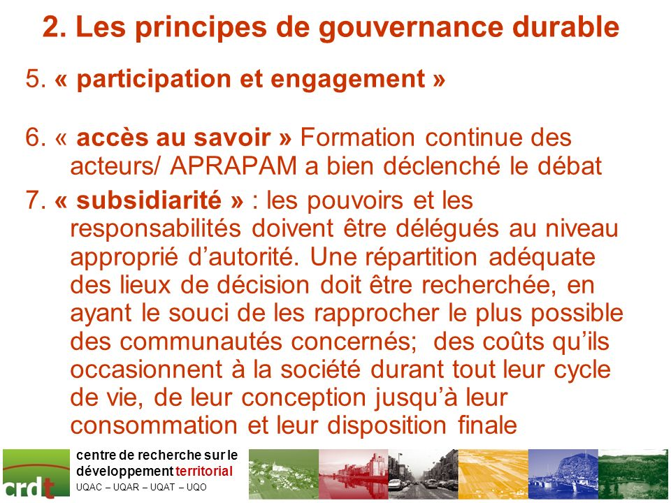 2. Les principes de gouvernance durable