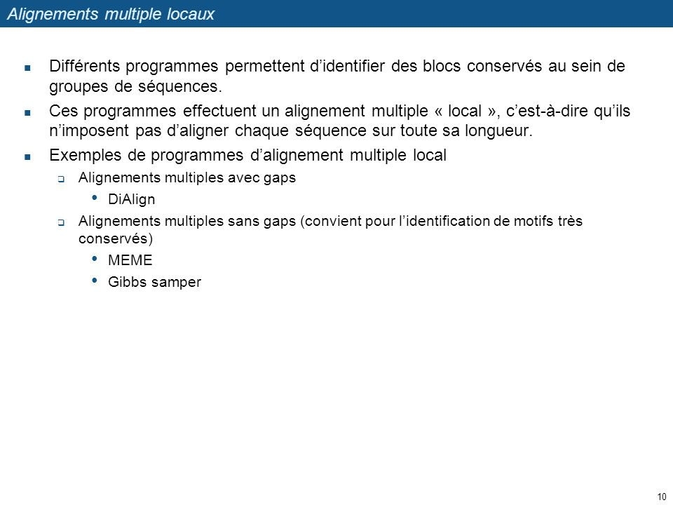Alignements multiple locaux