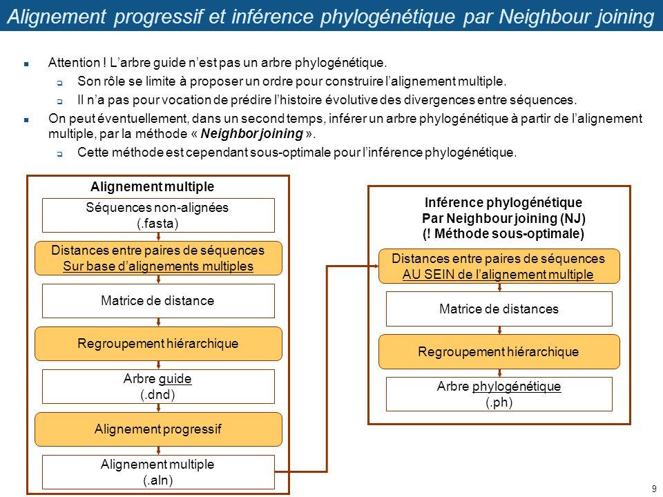 Alignement progressif et inférence phylogénétique par Neighbour joining