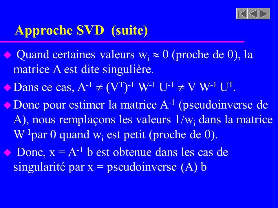 Approche SVD (suite) Quand certaines valeurs wi  0 (proche de 0), la matrice A est dite singulière.
