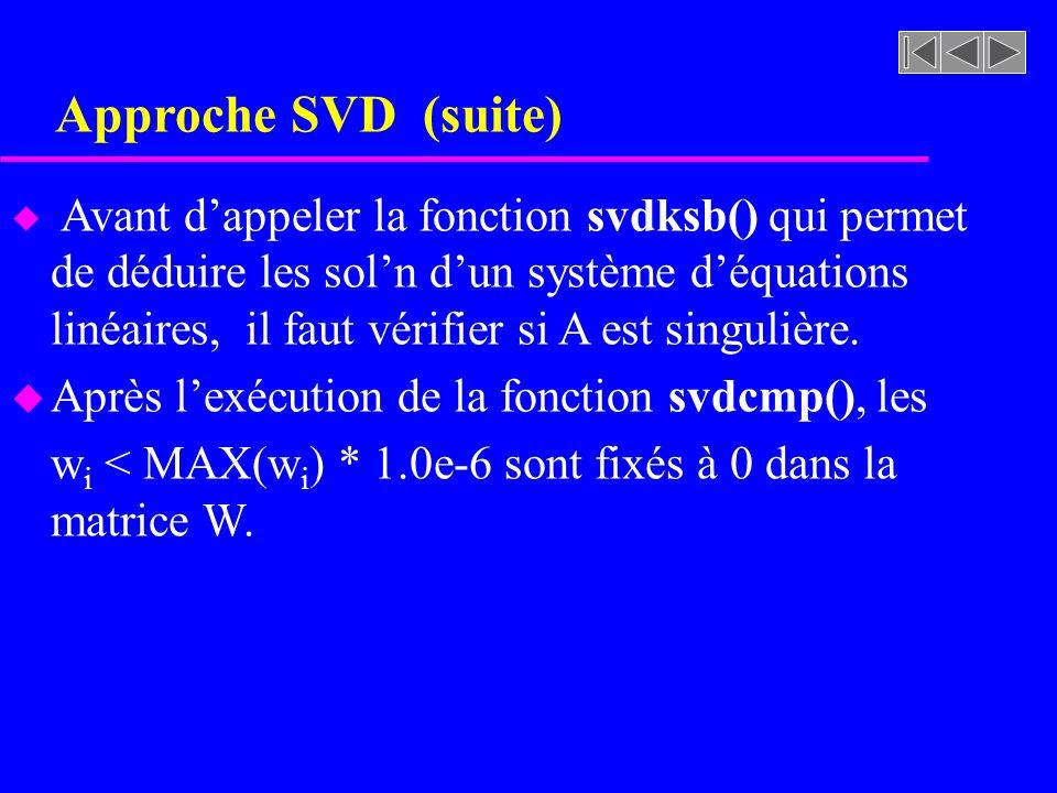 Approche SVD (suite) Après l'exécution de la fonction svdcmp(), les