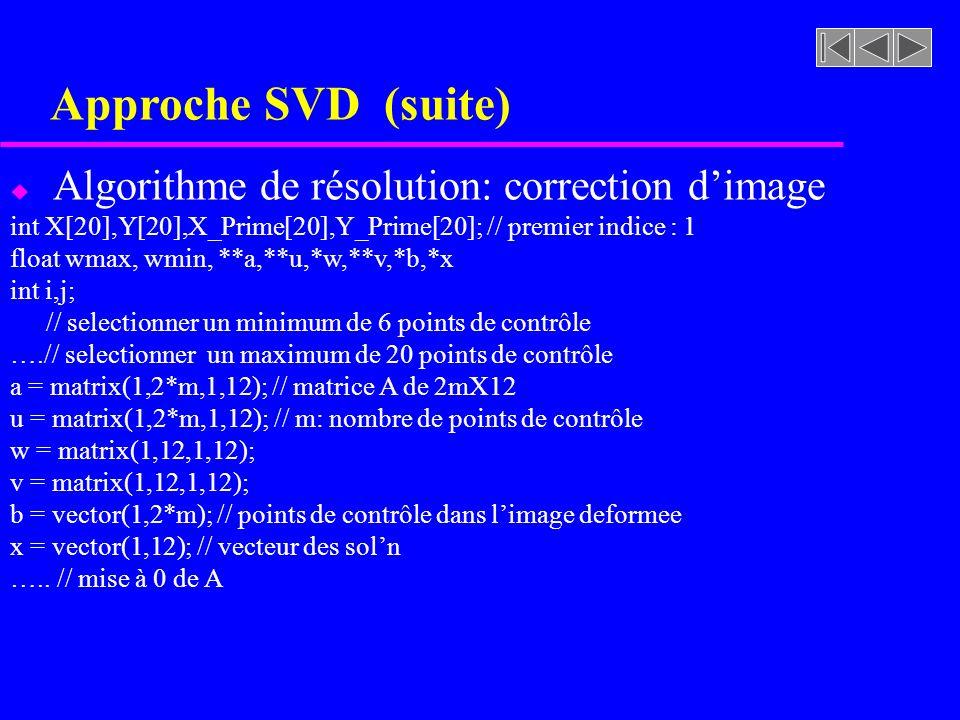Approche SVD (suite) Algorithme de résolution: correction d'image