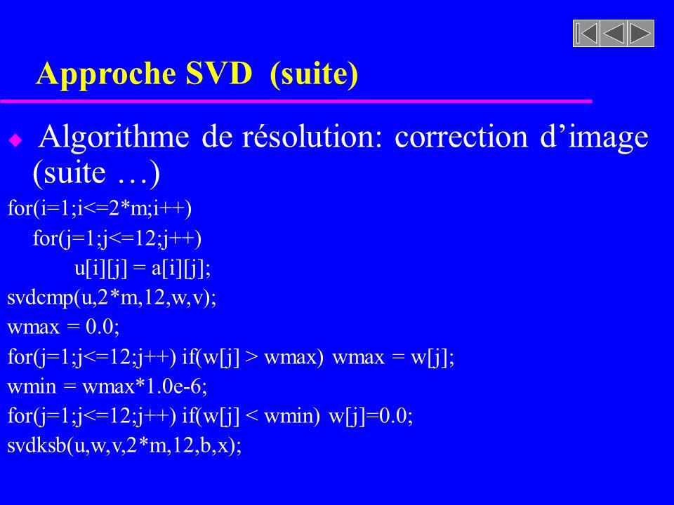 Approche SVD (suite) Algorithme de résolution: correction d'image (suite …) for(i=1;i<=2*m;i++) for(j=1;j<=12;j++)