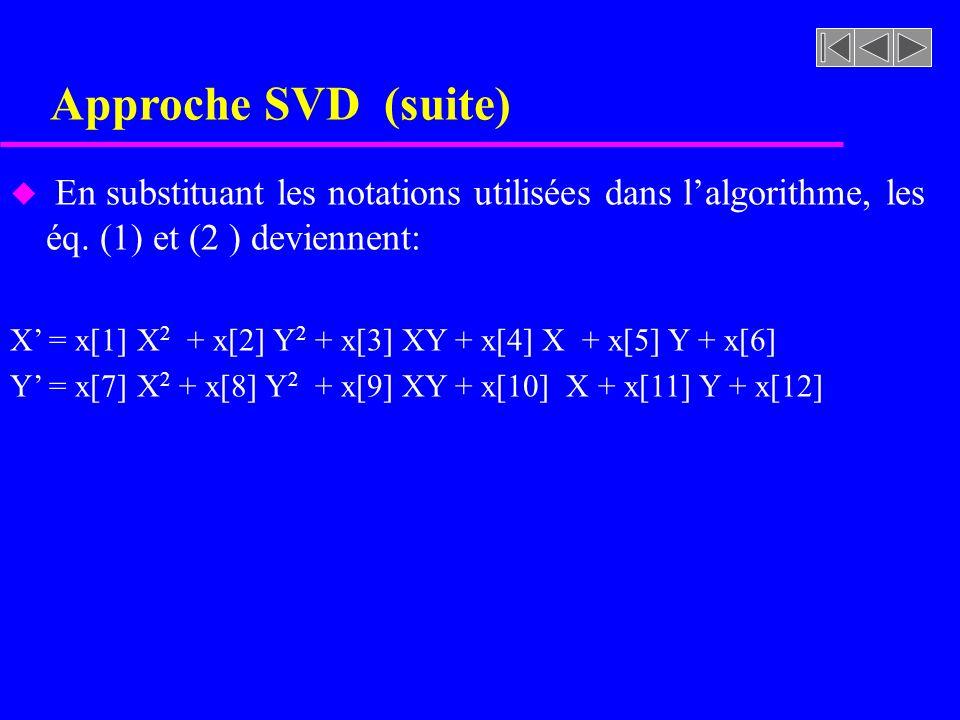 Approche SVD (suite) En substituant les notations utilisées dans l'algorithme, les éq. (1) et (2 ) deviennent: