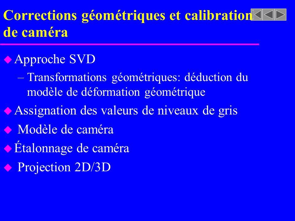 Corrections géométriques et calibration de caméra