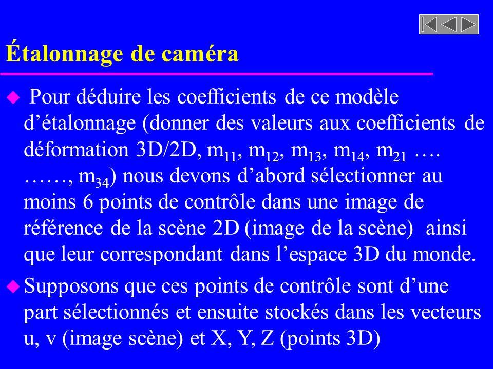 Étalonnage de caméra
