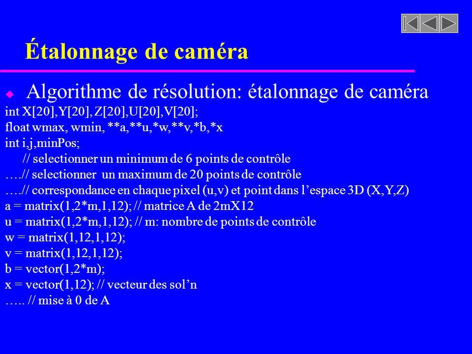 Étalonnage de caméra Algorithme de résolution: étalonnage de caméra