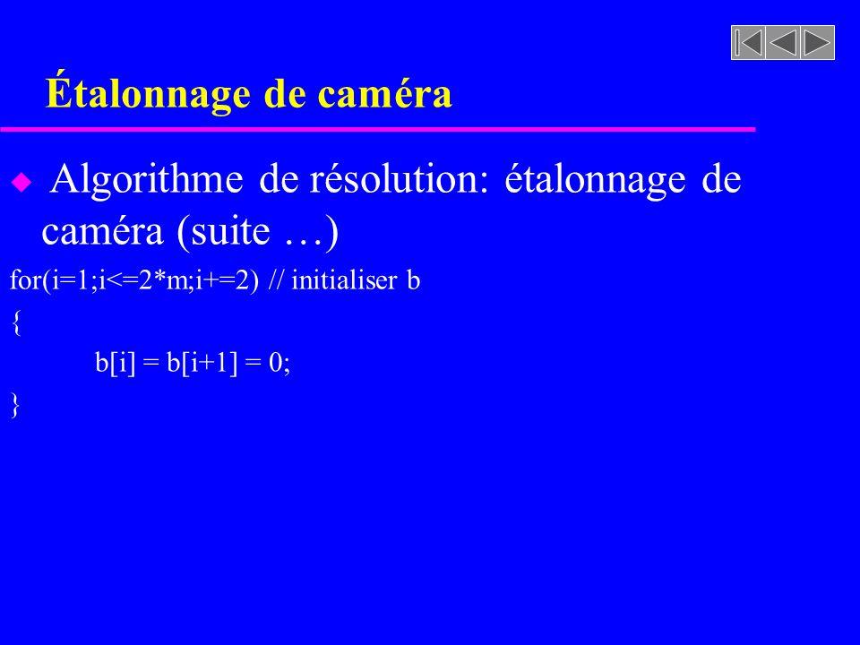 Étalonnage de caméra Algorithme de résolution: étalonnage de caméra (suite …) for(i=1;i<=2*m;i+=2) // initialiser b.