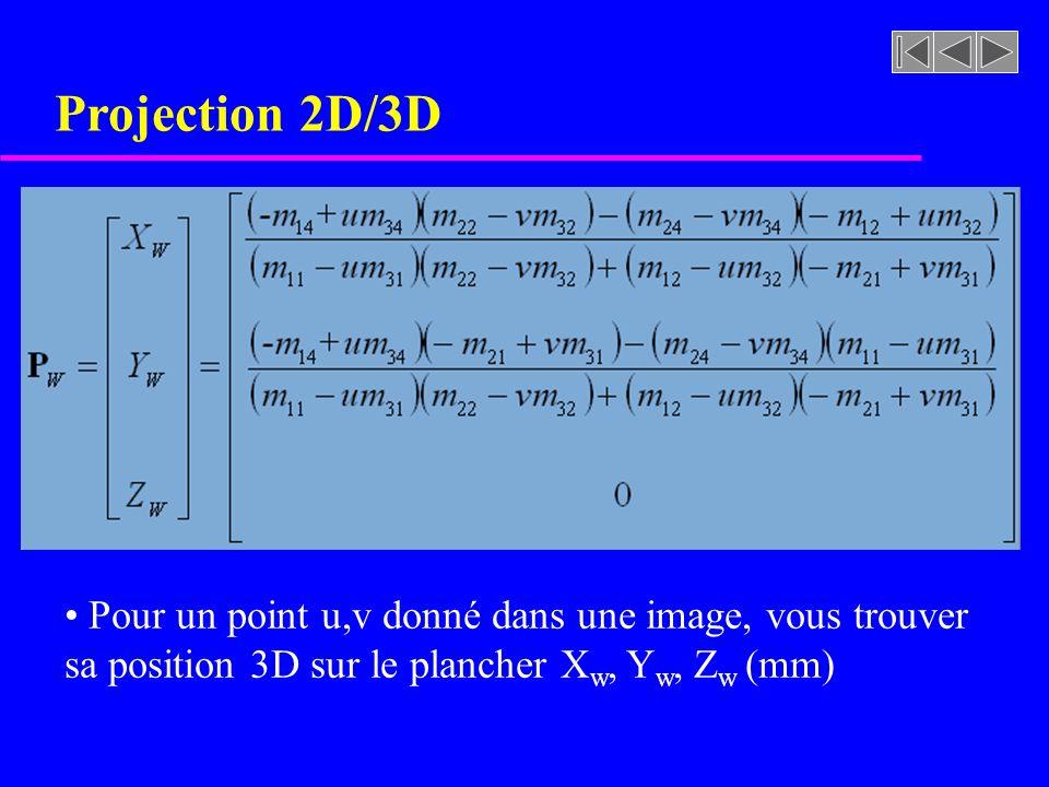 Projection 2D/3D Pour un point u,v donné dans une image, vous trouver