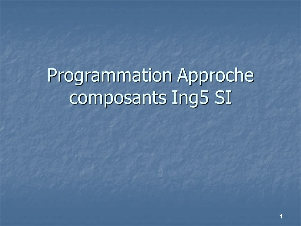 Programmation Approche composants Ing5 SI