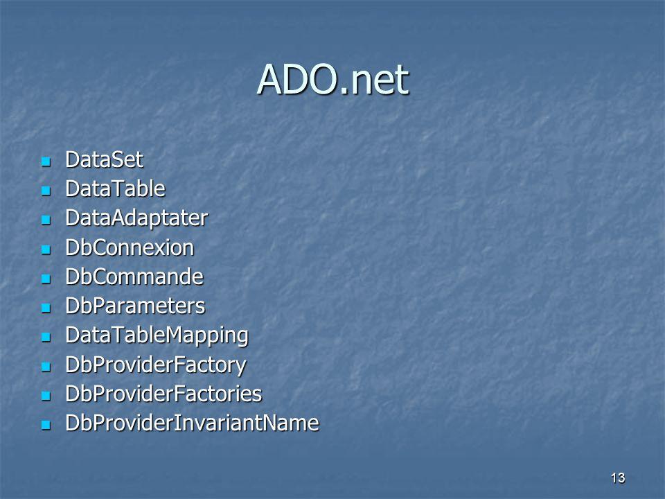 ADO.net DataSet DataTable DataAdaptater DbConnexion DbCommande