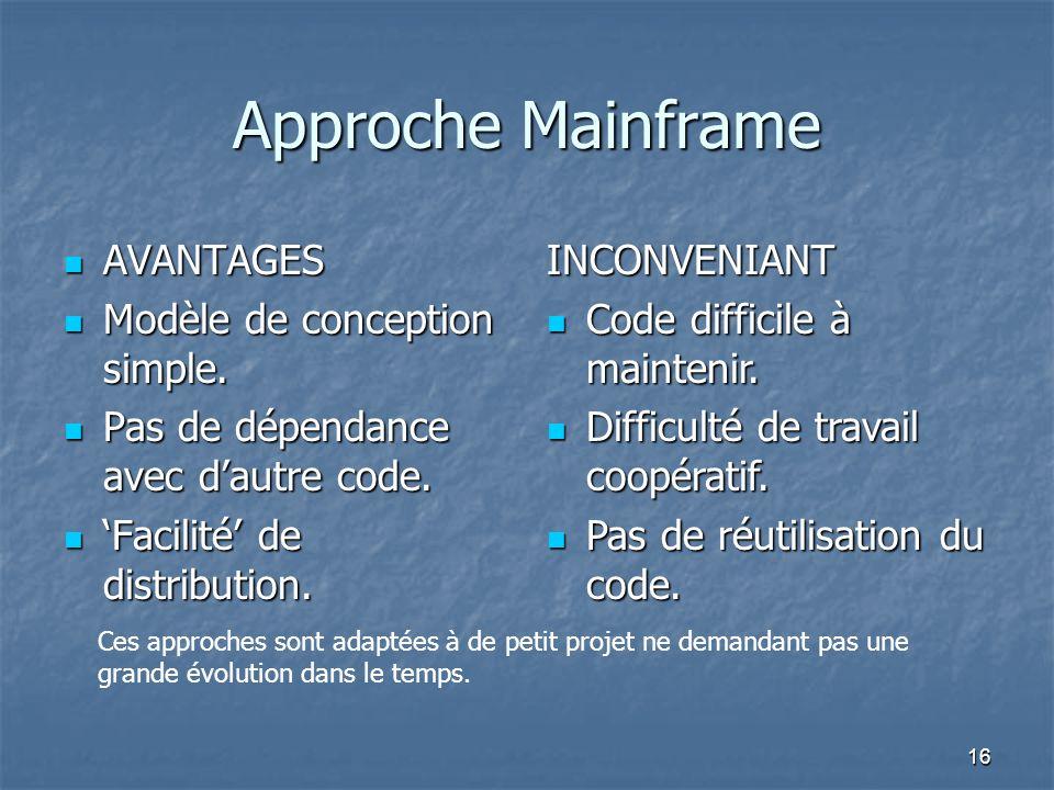 Approche Mainframe AVANTAGES Modèle de conception simple.